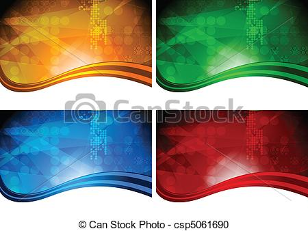 Vector Clipart of Four beautiful vibrant backdrops.