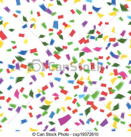 Vector Clip Art of Vibrant seamless pattern of falling confetti.
