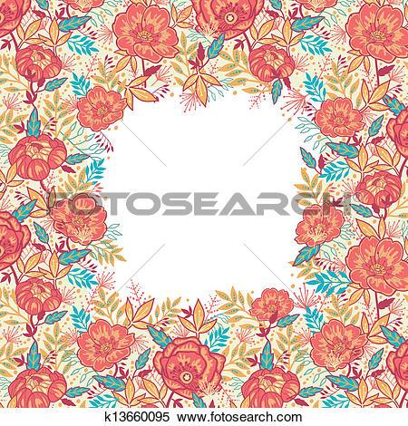 Clipart of Colorful vibrant flowers frame border k13660095.