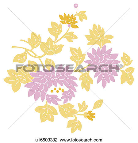 Clip Art of Classical floral pattern with vibrant color u16503382.