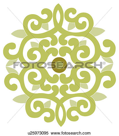 Stock Illustration of Classical floral pattern with vibrant color.