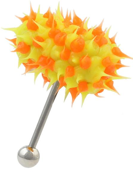 Yellow & Orange Koosh Vibrating Tongue Rings Vibe Bell.