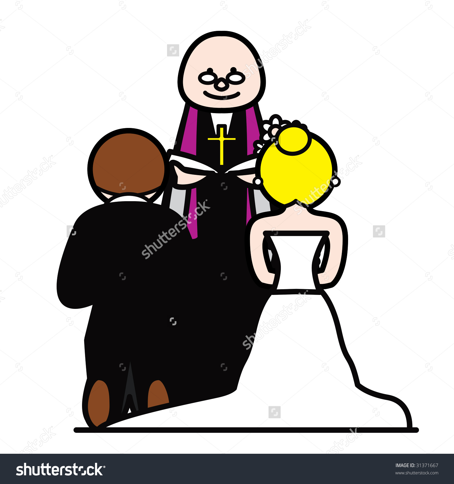Bride And Groom With Vicar Stock Photo 31371667 : Shutterstock.