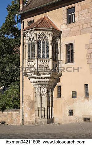 Stock Images of Sebalder vicarage with oriel window, Sebalder.