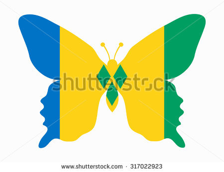 Guyana Flag Butterfly Stock Vector 317023946.