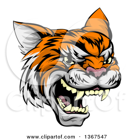 Clipart of a Vicious Roaring Wild Cat Slashing Through a Wall.