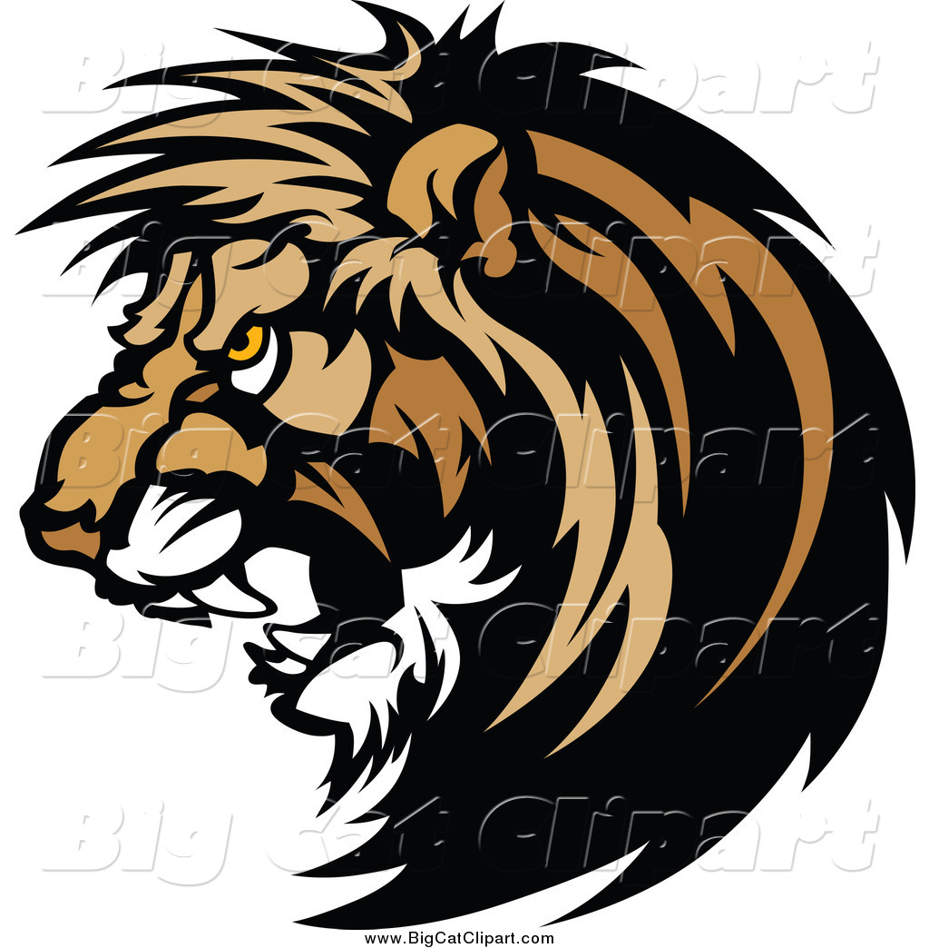 Big Cat Vector Clipart of a Vicious Male Lion Head Roaring by.