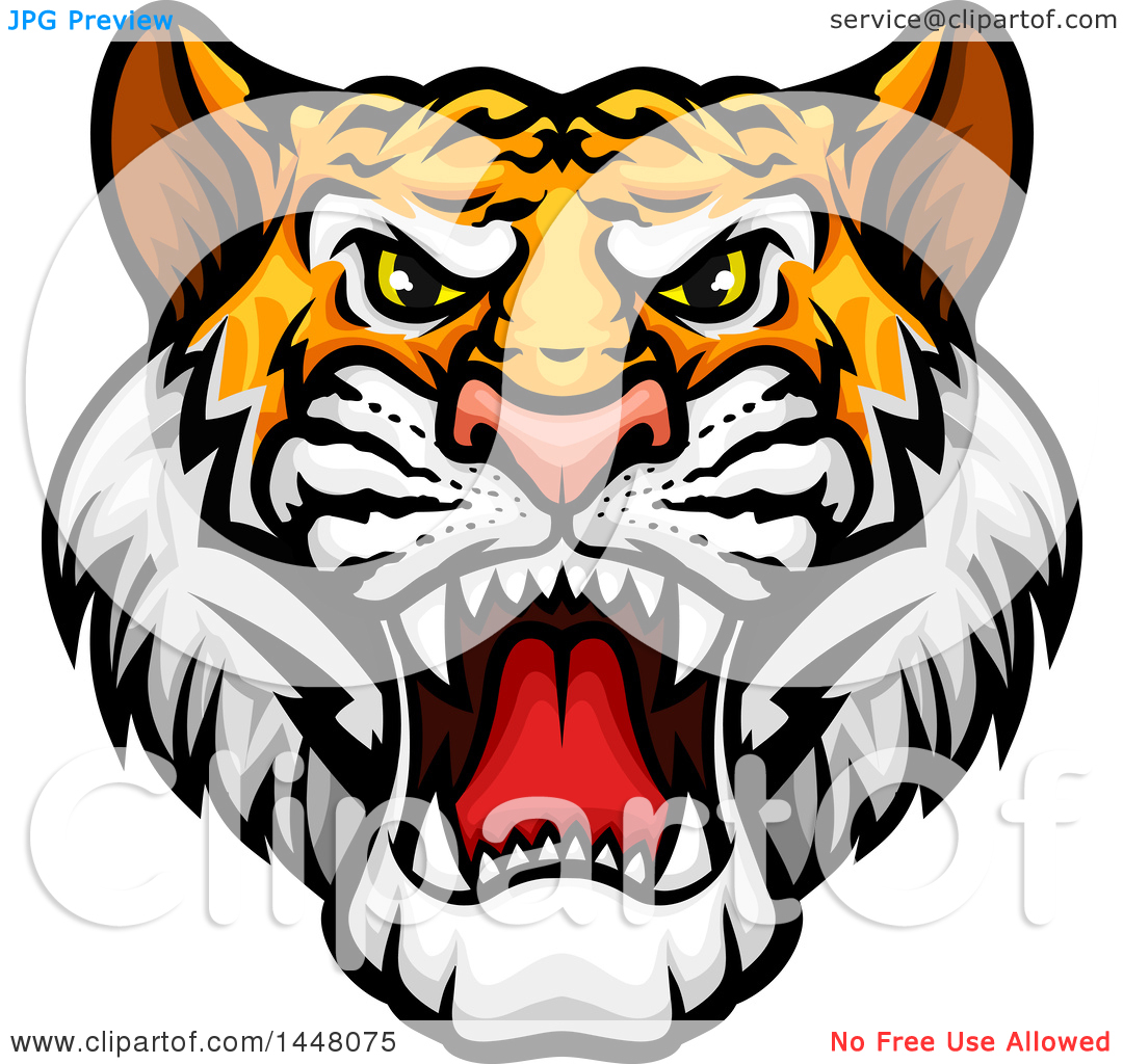 Clipart of a Vicious Tiger Mascot Face.