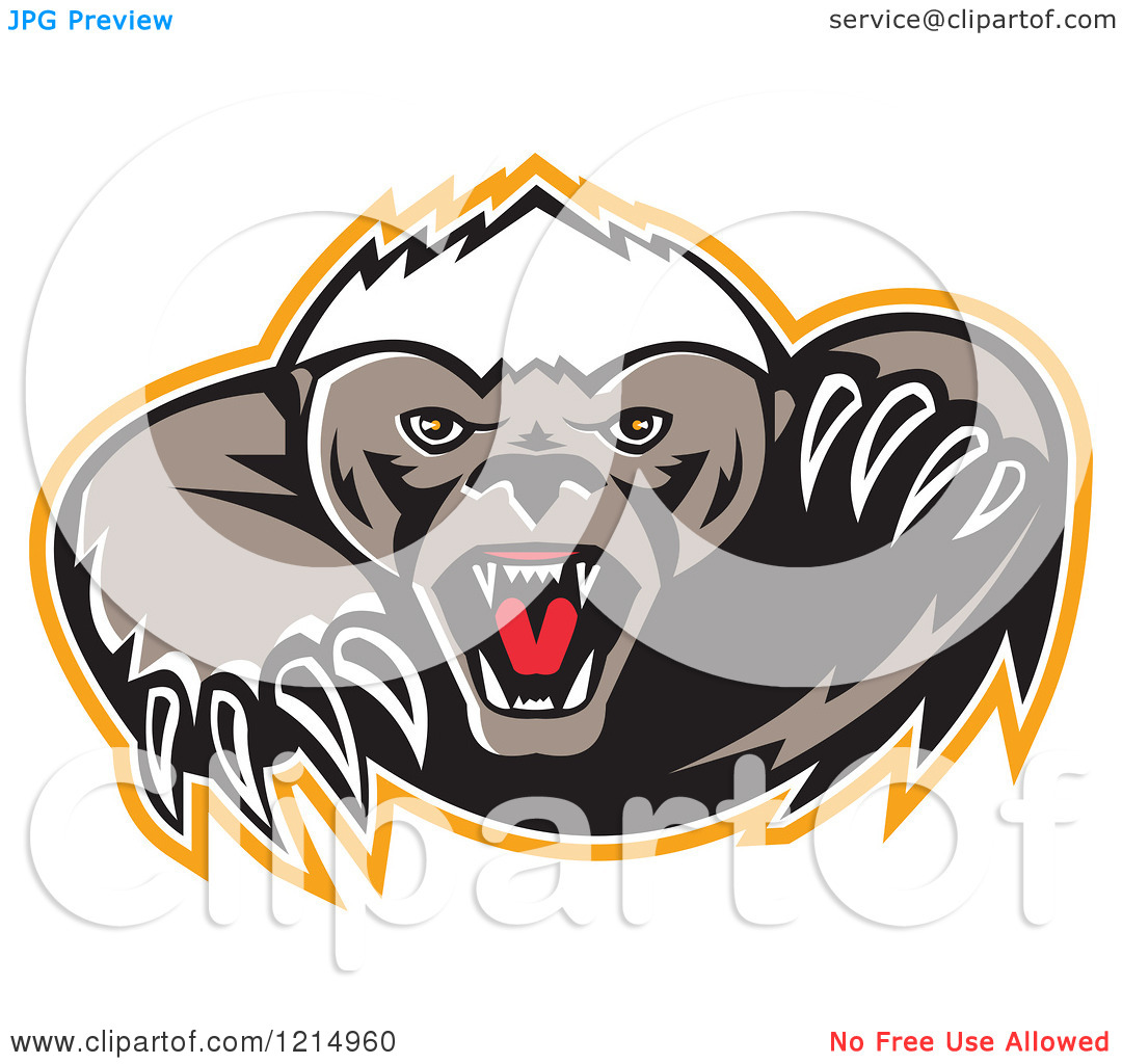 Clipart of a Vicious Honey Badger Mascot with Sharp Claws.