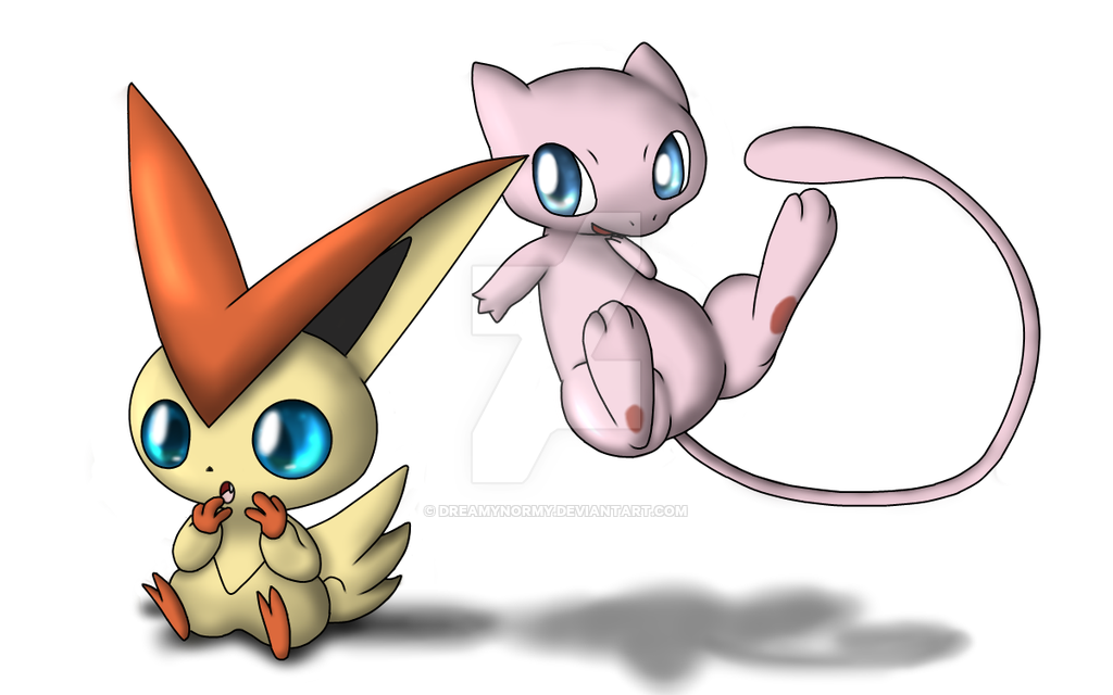 Victini and Mew! by DreamyNormy on DeviantArt.