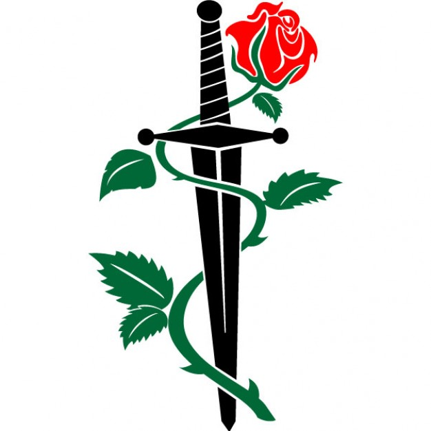 Dagger and rose vector clipart free download.