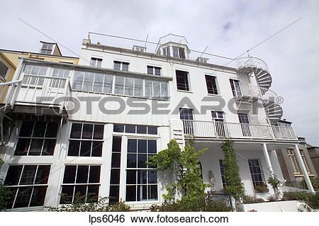 Stock Images of GARDEN FACADE OF HAUTEVILLE HOUSE OF VICTOR HUGO.
