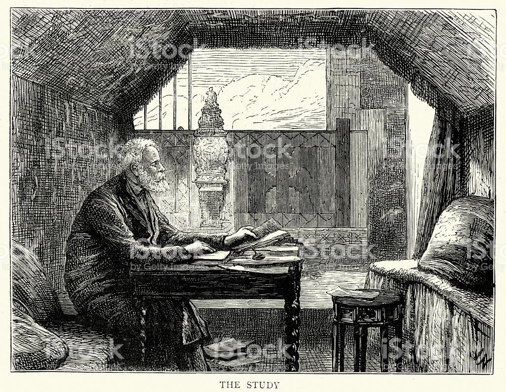 Victor Hugo In His Study Hauteville House Guernsey stock vector.