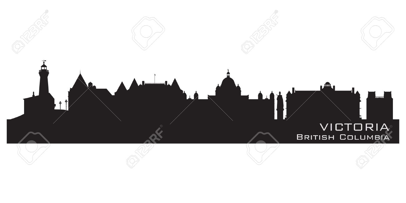 Victoria, Canada Skyline Detailed Silhouette Vector Illustration.