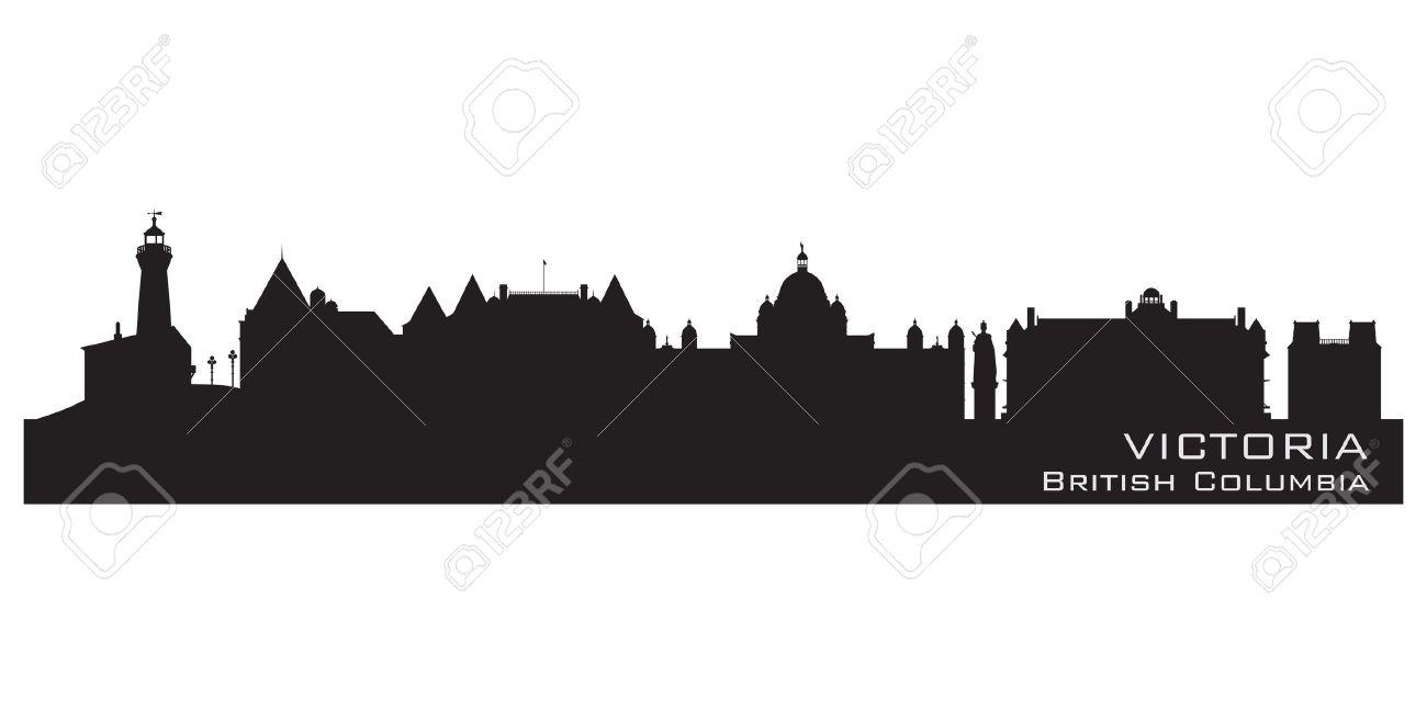Victoria, Canada Skyline Detailed Silhouette Vector Illustration.