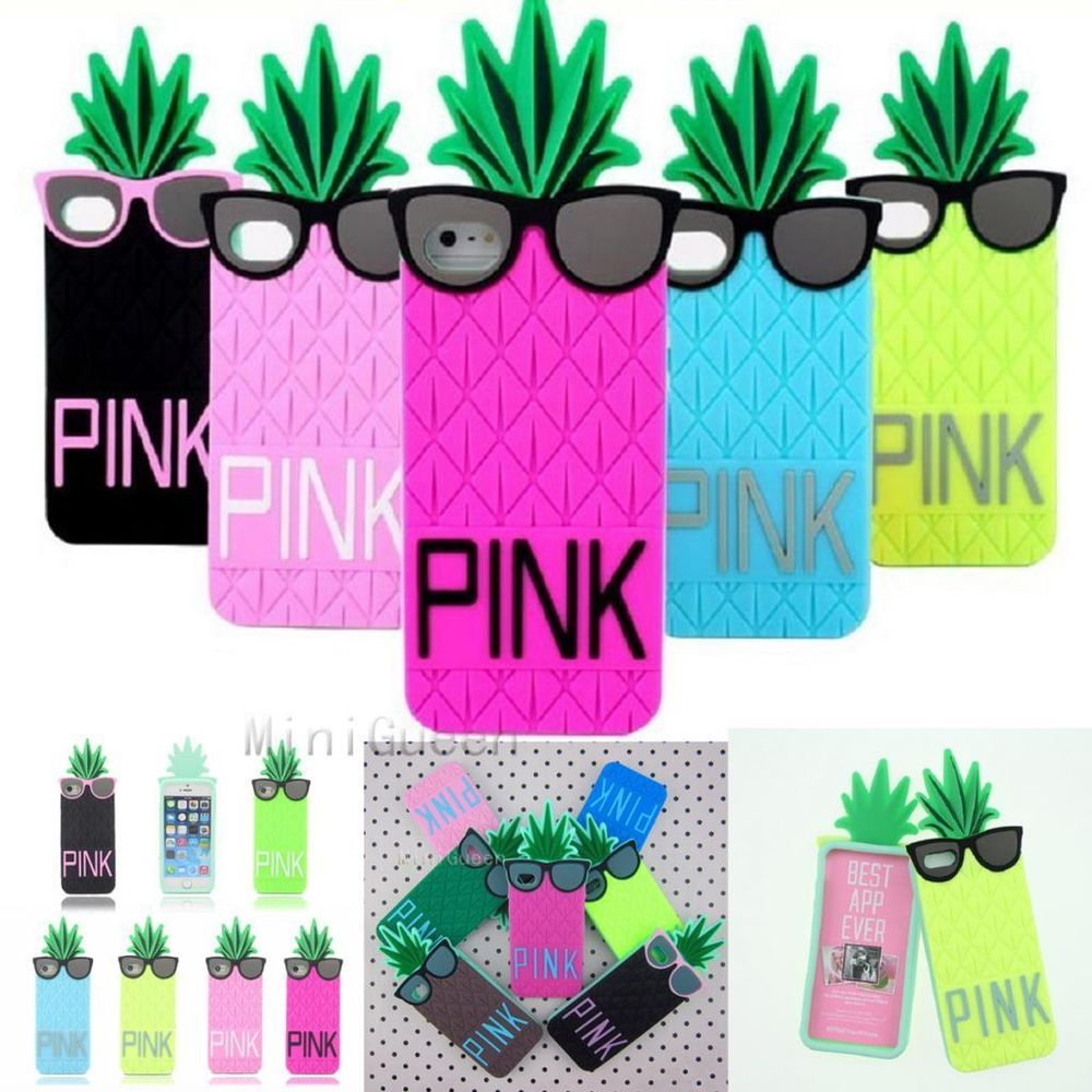 s Secret PINK 3D Glasses Pineapple Soft Case for iPhone 4s 5s 6 6 Plus.