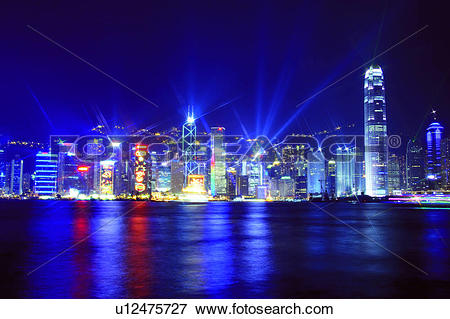 Picture of Symphony of Light, Hong Kong Victoria Harbour and city.