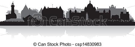 Vector of Victoria Canada city skyline vector silhouette.