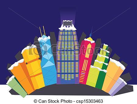 Clip Art Vector of Hong Kong City night graphic.