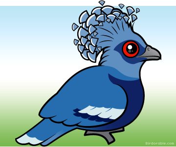 Meet the Cute Victoria Crowned Pigeon by Birdorable.