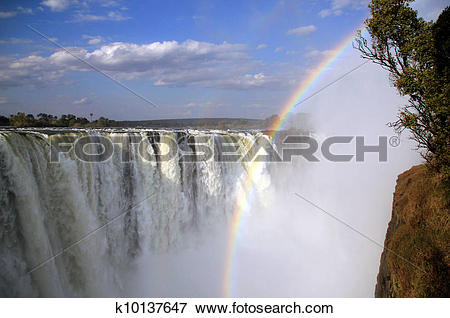 Picture of View of the Main Falls of Victoria Falls, Zimbabwe.
