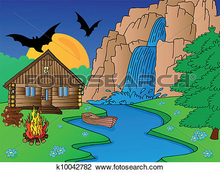 Clipart of Cabin and falls k10042782.