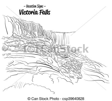 Vector Illustration of Victoria Falls Zimbabwe Landmark Sketch.