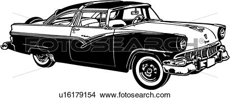 Clipart of , 1957, automobile, car, classic, crown, ford, victoria.