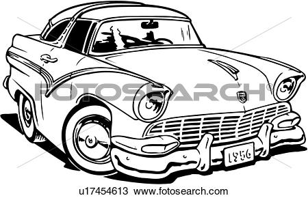 Clipart of illustration, lineart, 1956, ford, crown, victoria.