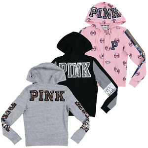 Details about Victoria\'s Secret Pink Hoodie Bling Full Zip Sweatshirt Top  Graphic Logo Vs New.