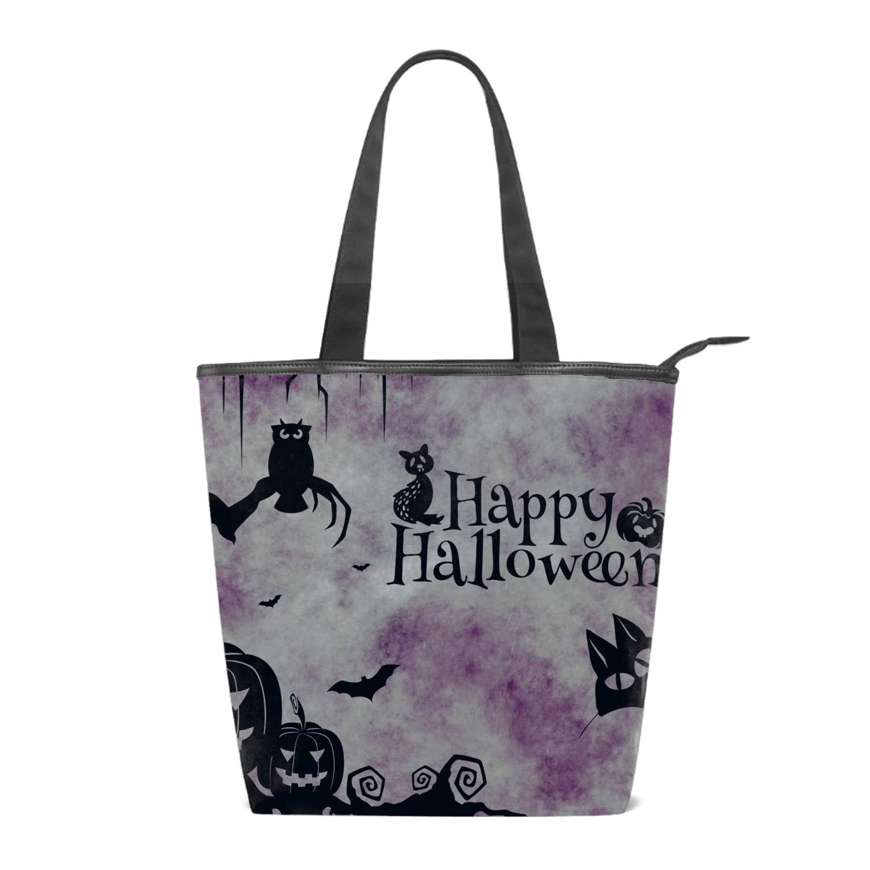 Amazon.com: Women\'s Canvas Shoulder Bag Happy Halloween Cat.