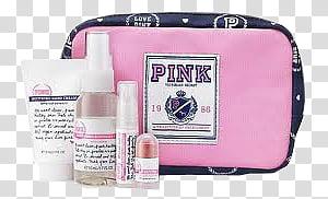 Pink Victoria\'s Secrete paper bag transparent background PNG.