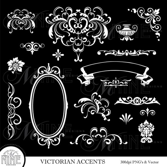 WHITE VICTORIAN ACCENTS Digital Clipart, Instant Download.