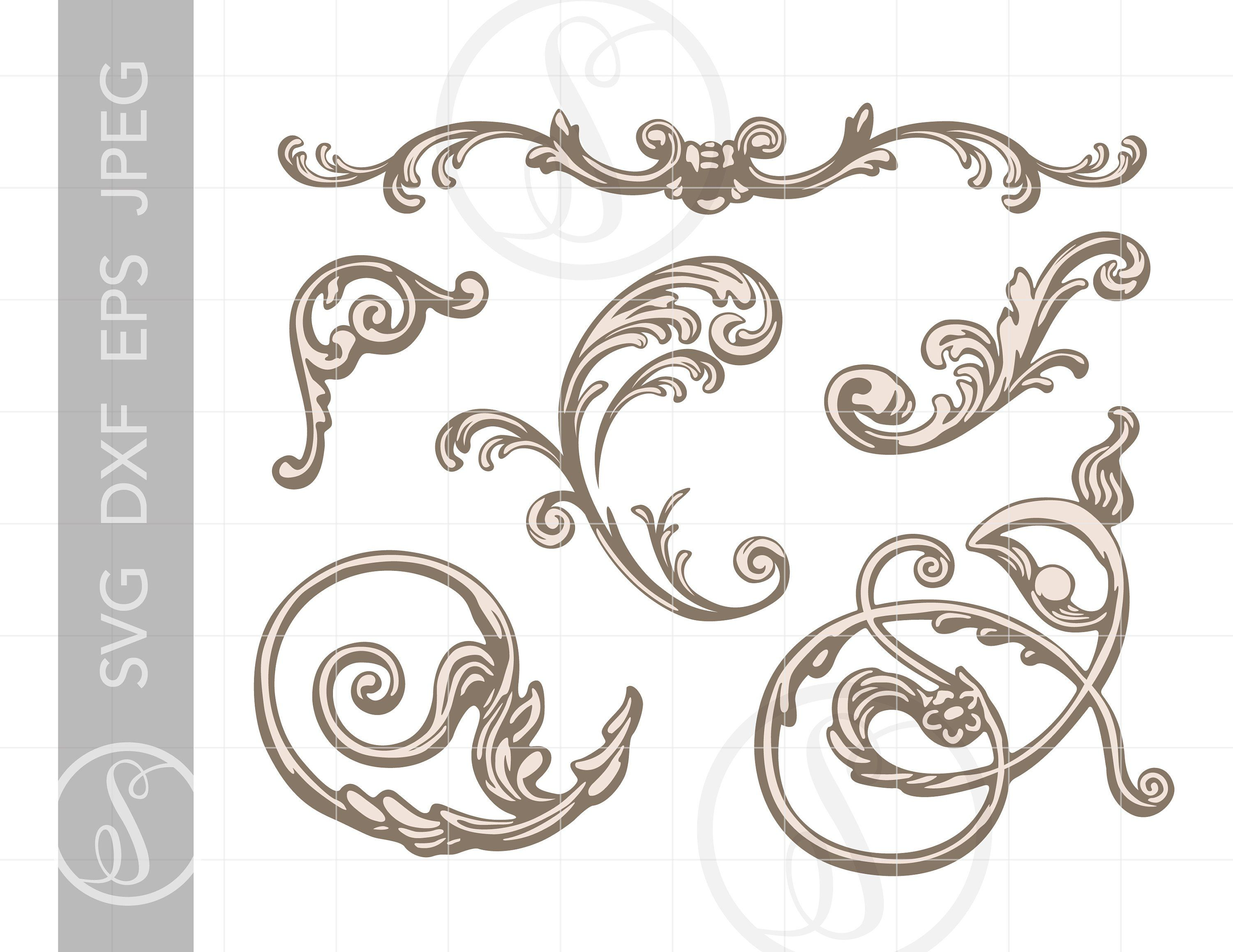 Victorian Design Ornaments SVG Clip Art Dxf Eps Jpeg.