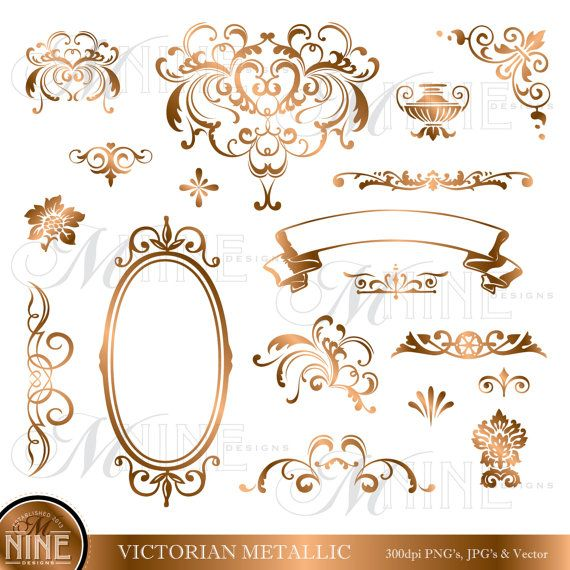 BRONZE VICTORIAN Design Elements Digital Clipart, Instant.