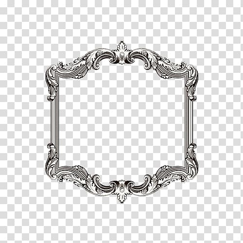 Silver victorian frame, frame Ornament Illustration, Edge.