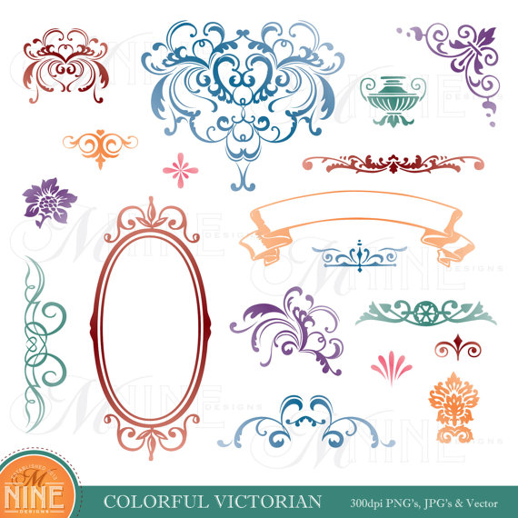 Design Accent Clipart: COLORFUL VICTORIAN Clip Art Design.