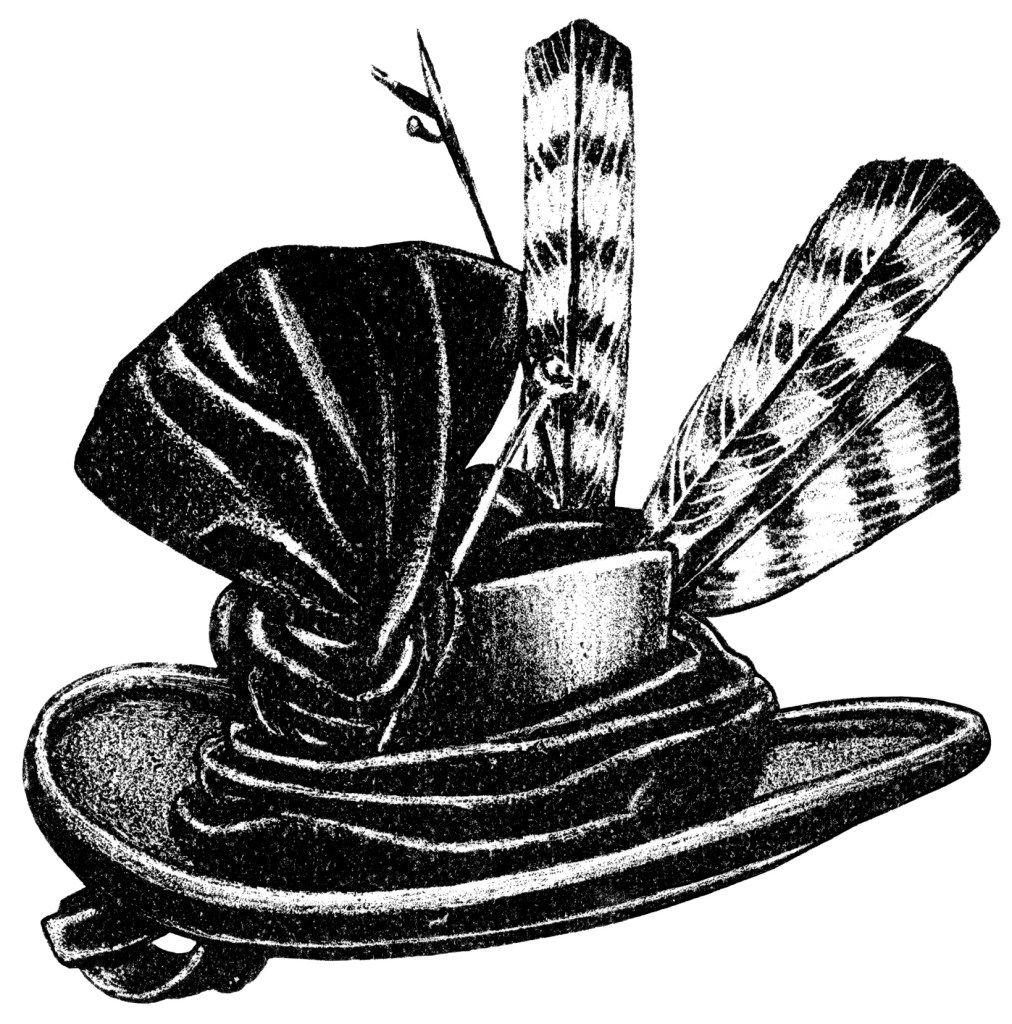 vintage hat clip art, black and white graphics, Victorian.
