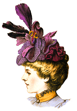 Victorian Ladies Dress Hats Clip Art.