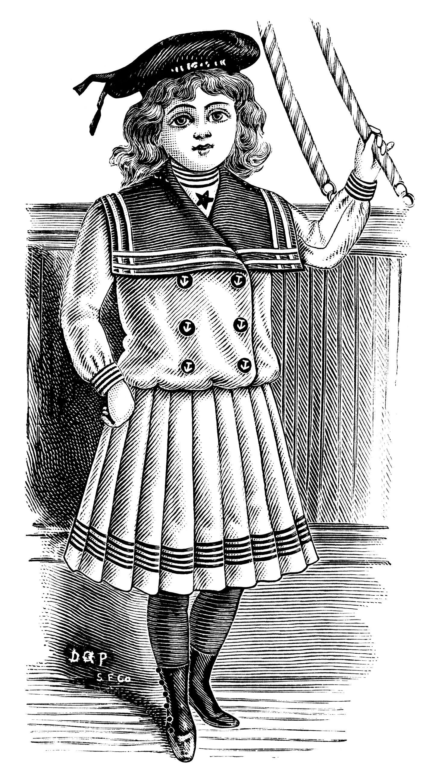 Victorian child fashion, victorian girl clip art, black and.