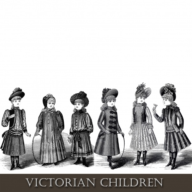 Victorian Children Clipart Free Stock Photo.