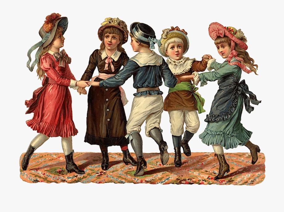 Victorian Scrap Of Children Playing.