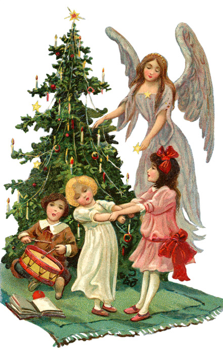 Vintage Christmas Angel with Children * 1500 free paper dolls.