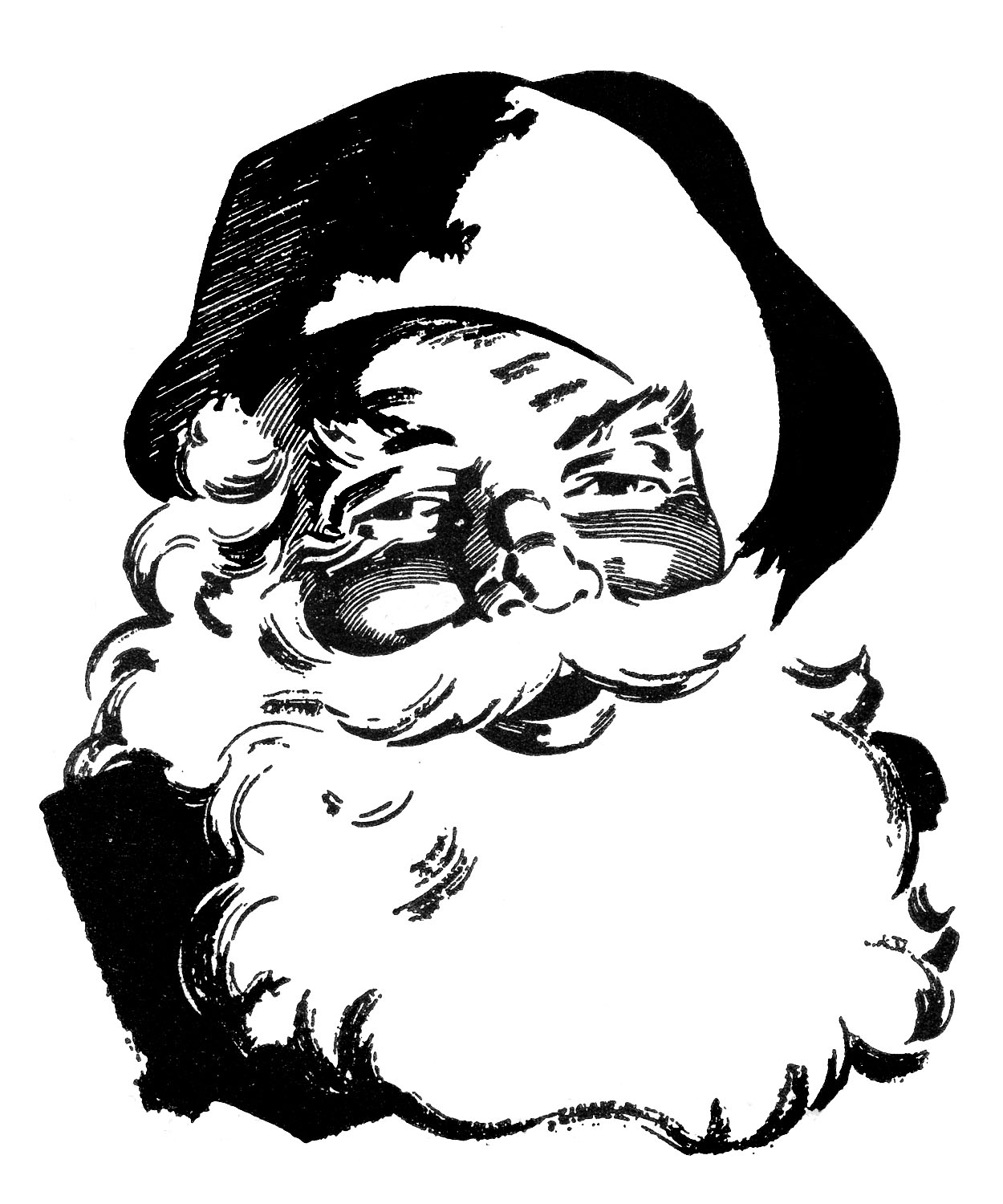 Christmas Clipart Black And White Free Vintage.