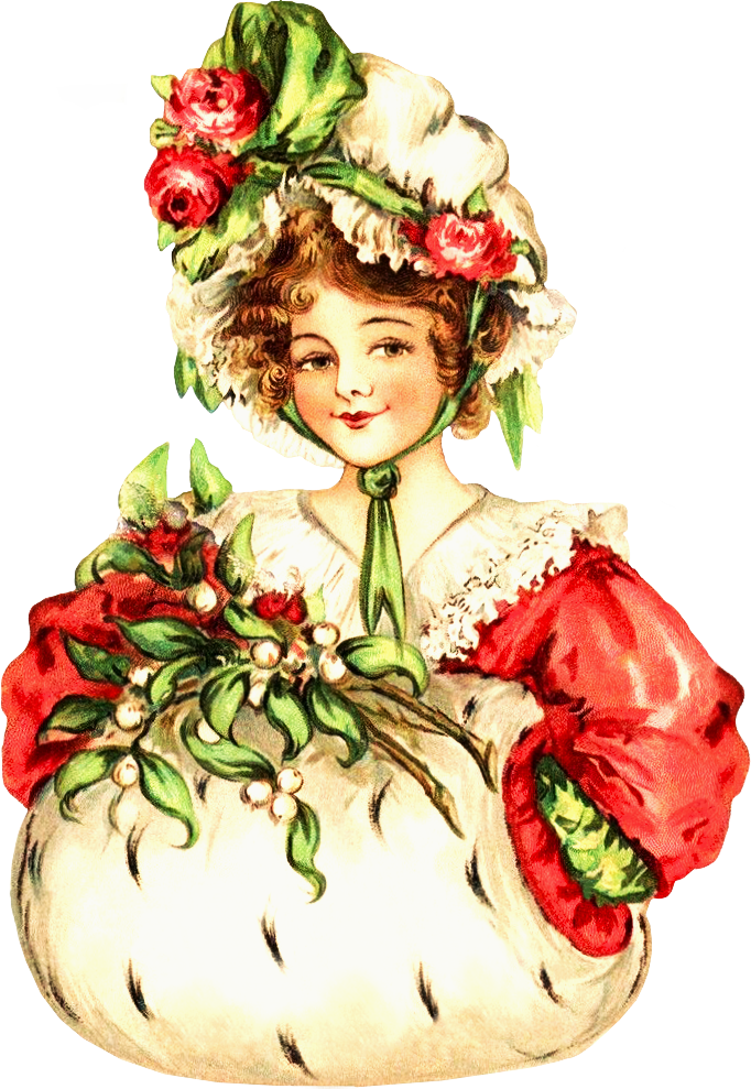 Victorian Christmas Lady Clipart.