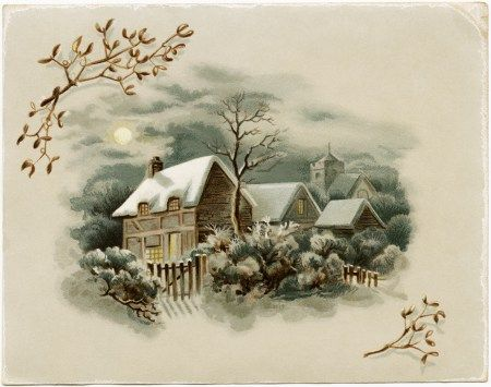 winter scene clipart, old fashioned greeting card, victorian.