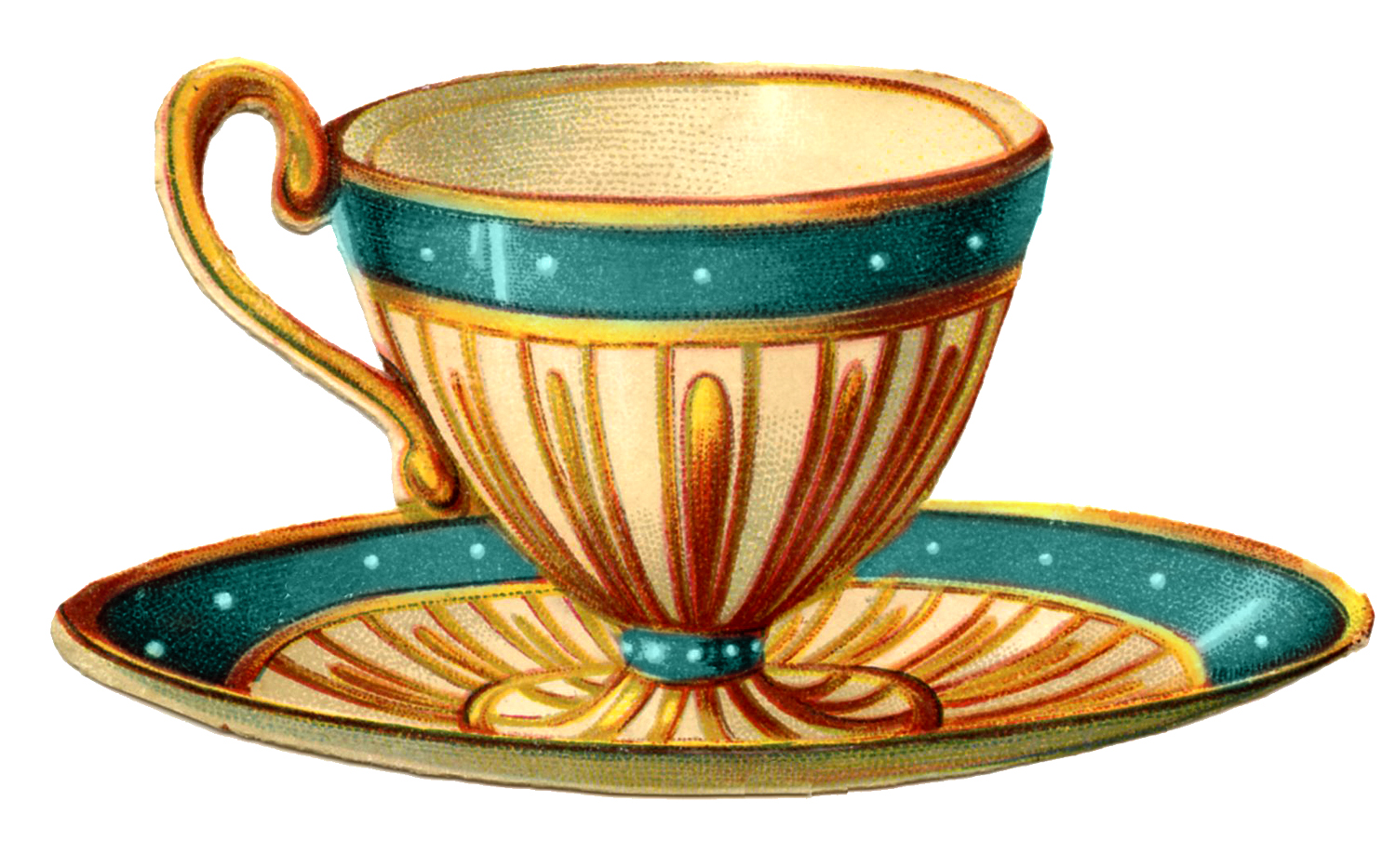 Vintage Cup Of Tea Clipart.