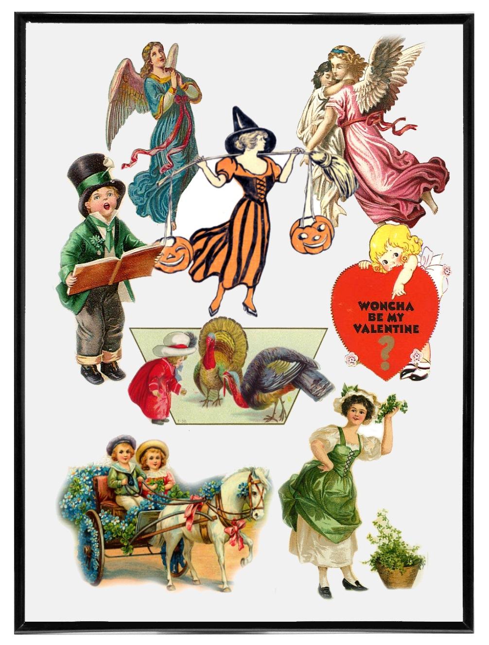 Victorian Holiday Clip Art.