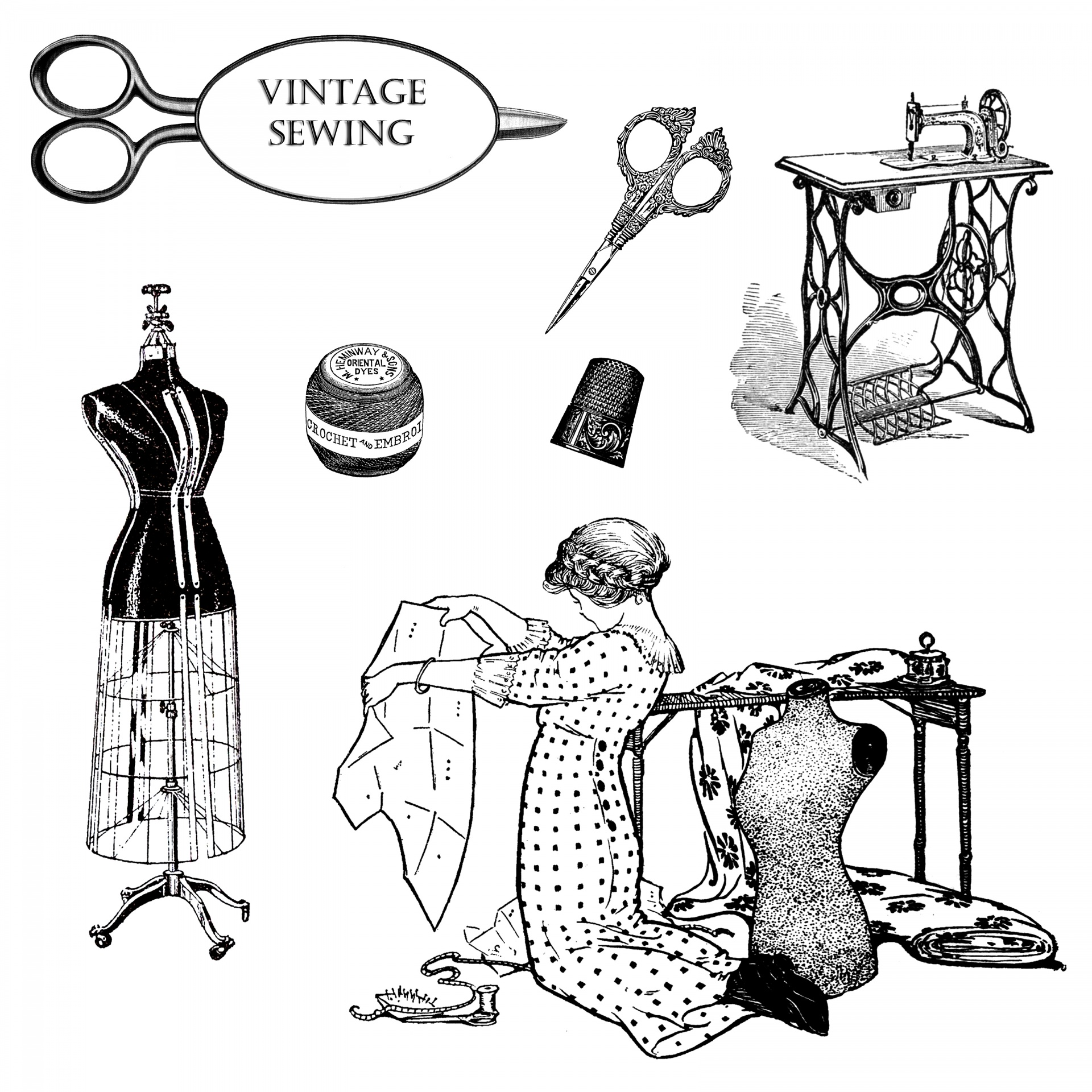 Vintage sewing clipart free stock photo public domain.