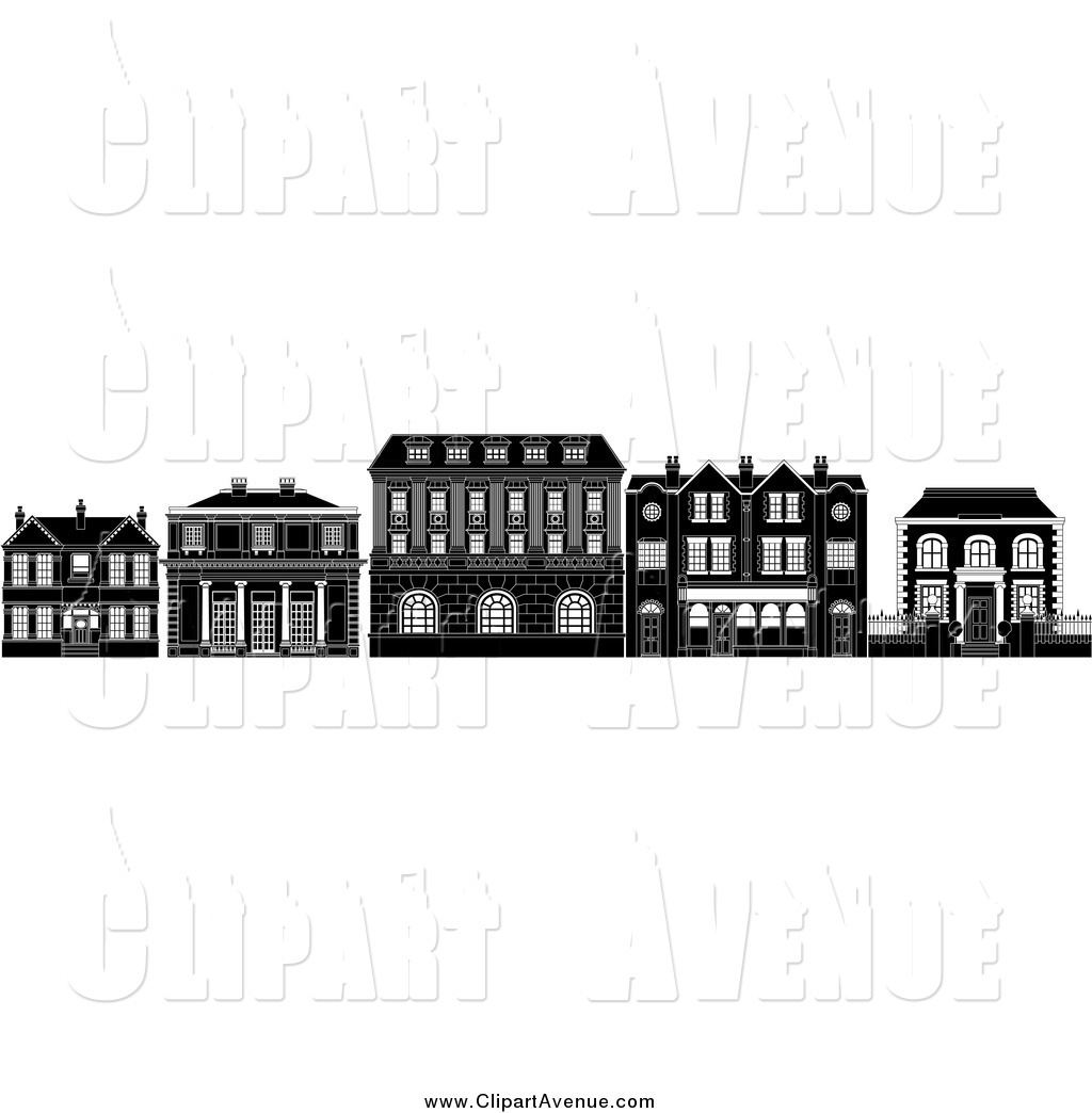 Avenue Clipart of Black and White Row of Edwardian.